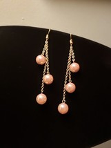 Triple Drop Dangle Pink Pearl earrings - $22.00