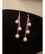 Triple Drop Dangle Pink Pearl earrings - $22.00