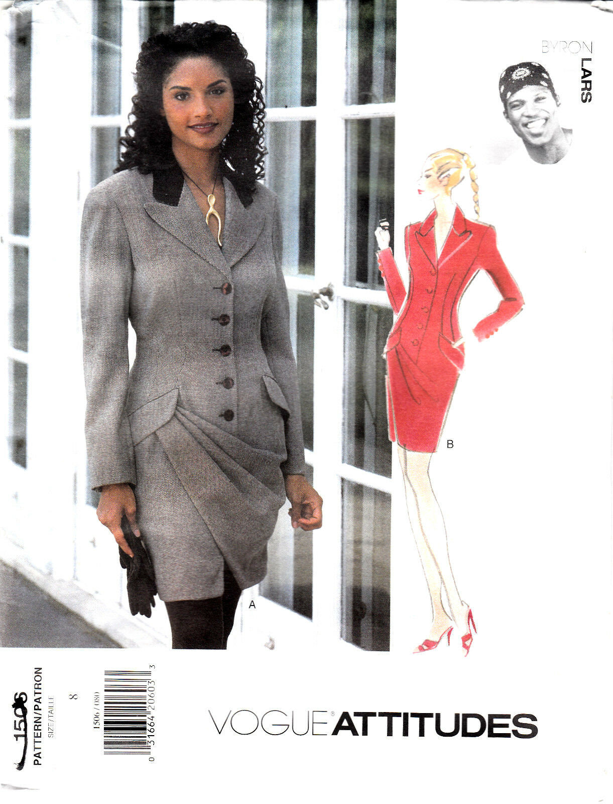 Vogue Byron Lars Dress Attitudes Button Front Above Knee Sew Pattern 1506 Uncut