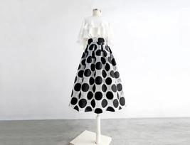 Women White Black Strip Pleated Midi Skirt A-line High Waist Pleated Plaid Skirt image 8