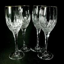 4 (Four) MIKASA GOLDEN LIGHTS Lead Crystal Wine Glasses 24K Trim-DISCONT... - $63.84