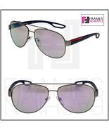 PRADA LINEA ROSSA LJ SILVER 55Q Blue Rubber Lilac Mirror Sport Sunglasse... - $213.84