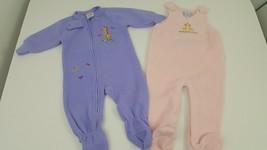 2 Piece Lot Size 6-12 Months Baby Girl Fleece One Piece Footie Pajamas B... - $9.74