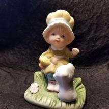 Homco Vintage Bisque Ceramic Girl Figurine Carries Basket w/Kitten 70s - $29.99