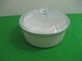 Corning Ware Round White 2.5Qt 2.3L Casserole Dish & Clear Pyrex G-1-G Lid - $15.85