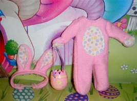 Little Kelly Pink Easter Costume w/ Egg basket for Fisher Price Loving F... - $12.86