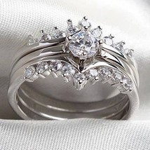 Cocktail Wedding Silver Color Cz Ring Sz 9 Unisex Fashion Jewelry New image 3