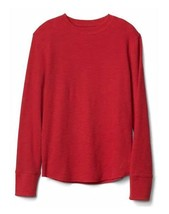 Gap Kids Boys T-shirt Tee 6 7 8 Red Waffle Knit Crew Neck Long Sleeve Co... - $16.95