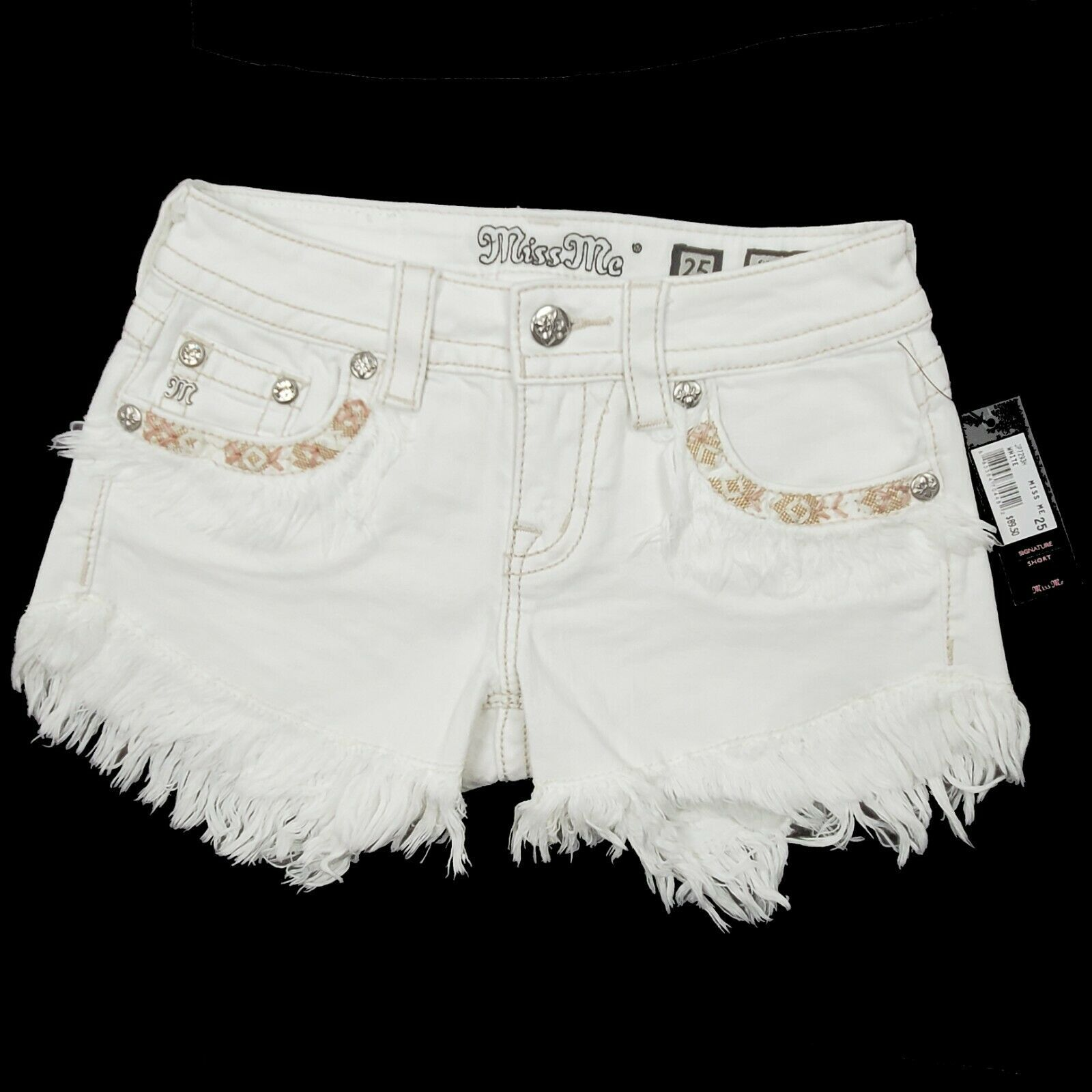Miss Me Women's Signature Fringe Shorts JP7293H White 25 26 $89.50 Embroidered