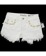 Miss Me Women's Signature Fringe Shorts JP7293H White 25 26 $89.50 Embro... - $49.49