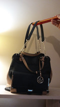 Jessica Simpson Large Purse With Cross Body Strap Black And Beige Purse Lnc - $64.24