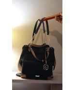 Jessica Simpson Large Purse With Cross Body Strap BLACK And BEIGE Purse ... - $64.24
