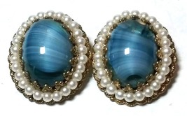 VINTAGE WESTERN WEST GERMANY BLUE ART GLASS FAKE PEARLS CLIP ON EARRINGS - $40.00
