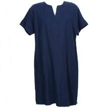 Ralph Lauren Navy Blue Linen Short Sleeve Shift Dress 10 - $69.99