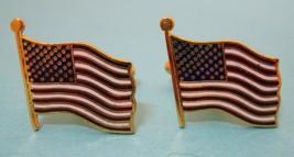 Vintage Gold Tone American Flag Cufflink Cuff Links Dante 3/4 inch T41 - $22.28