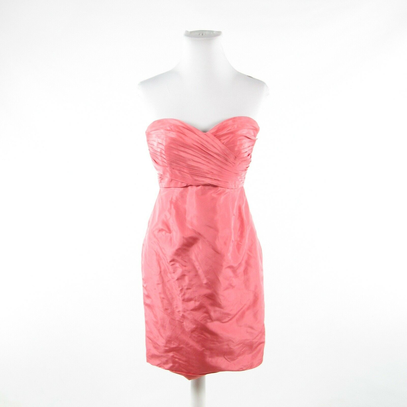Primary image for Salmon pink 100% silk J. CREW strapless A-line dress 4