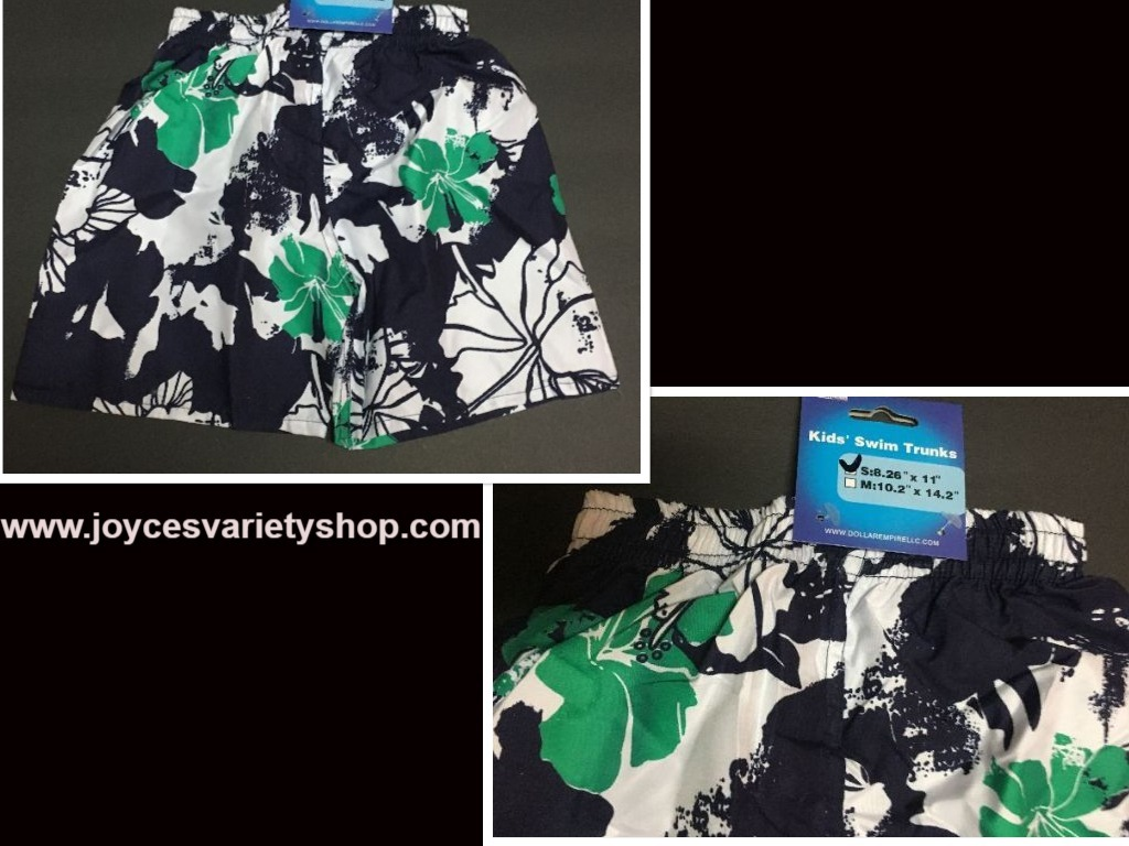 Toddler swim shorts web blue green   white floral small collage