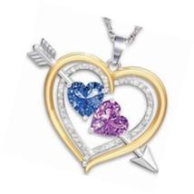 Blue Purple Birthstone Heart  Love Arrow Christian Necklace Pendant - $15.49