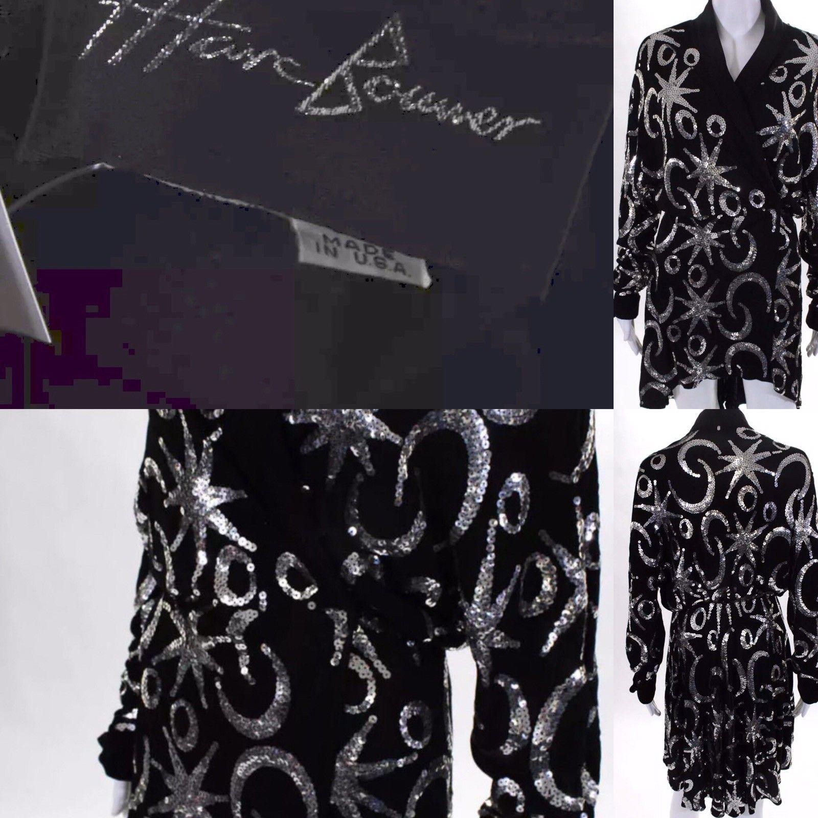 Rare Designer Marc Bouwer Black & Sequin Flared High Low Long Sleeve Dress 00-S