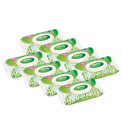 Kleenex Wet Wipes Sensitive With Aloe and Vitamin E for Hands and Face, Flip-top