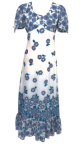 70s Betty Barclay White & Blue Ruffle Floral Cotton Boho Festival Maxi D... - $41.00