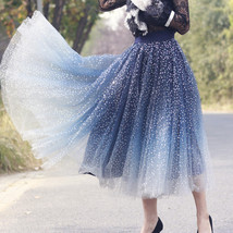 Sequined Tulle Midi Skirt Outfit Navy Gold Sparkly Midi Bridesmaid Skirt Custom image 3