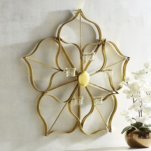 NEW IN BOX PIER 1 IMPORTS GOLDEN FLOWER 5 TEA LIGHT CANDLE HOLDER WALL S... - $2.082,31 MXN