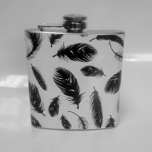 6 oz Feather Pattern Hip Flask Free Personalization - $11.46