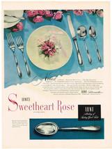 Vintage 1951 Magazine Ad Lunt Sterling Sweetheart Rose Pattern & Shell Motor Oil - $5.93