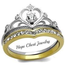 WOMEN'S GOLD STAINLESS STEEL CROWN TIARA DESIGN CRYSTAL WEDDING RING SIZ... - $17.54