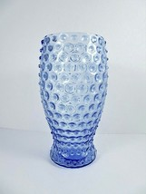 Sky Blue Glass Hobnail Bouquet Vase Vintage Wheel Cut 8.25 Inches Tall - $39.48