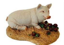 Pig Figurine vtg hog piggy sculpture decor gift Charmstone Earl Sherwan ... - $43.49