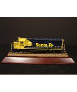 "10"" HO Gauge Santa Fe Engine Train Display on  Cherry Wood  Base - $12.49"