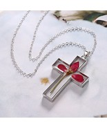 Decorative Dried Rose Flowers Pendant Cross Metal Glass Sweater Chain Ne... - $6.49