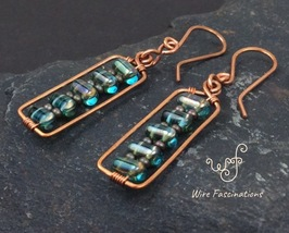 Handmade copper earrings: rectangles wire wrapped with aqua glass brick ... - $27.00