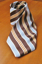 Eagle Brand Tie Brown Blue Beige Striped Handmade 100% Silk Men's Access... - $19.99