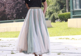 Rainbow Pleated Skirt Womens Rainbow Stripe Skirt Tulle Maxi Skirt Outfit image 11