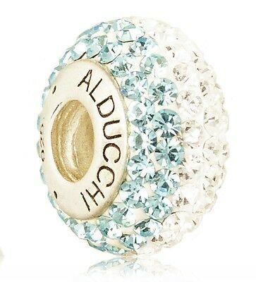 Alducchi Topacio Azul - Transparente Cristal Swarovski 925 Plateado Charm Cuenta