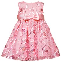 Rare Editions Baby Girl 3M-9M Pink Sequin Soutache Mesh Overlay Dress
