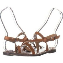 Sam Edelman Gladis Flat Strappy Sandals 045, Saddle Leather, 7 US / 37 EU - $28.50