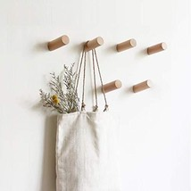 HomeDo 3 Pack Wooden Coat Hooks Wall Mounted, Single Organizer Hat Rack, Vintage