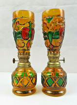 Rare Vintage pair of stained glass oil lamps Pop Art deco Retro Modern d... - $89.00