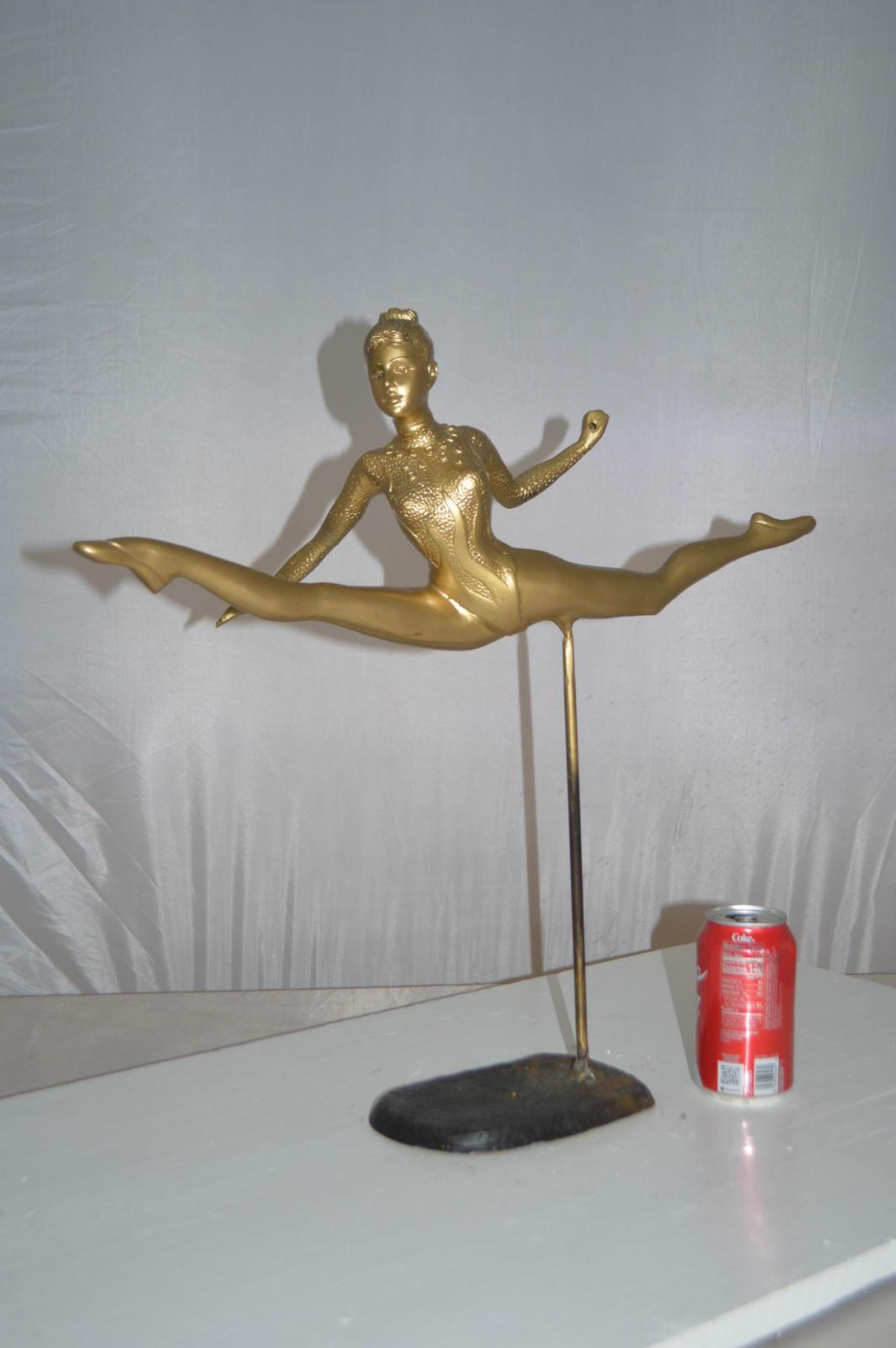 "Ballerina jumping high Bronze Statue -  Size: 21""L x 9""W x 21""H."