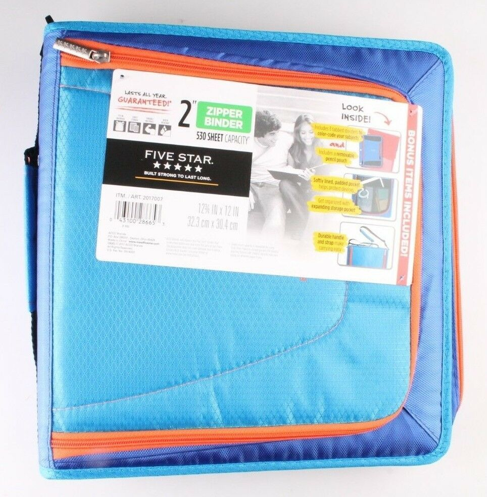 "NEW Five Star Zipper Binder + Tech Pocket, 2"", Blue Orange, 12-3/4"" x 12"" NWT"