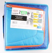 "NEW Five Star Zipper Binder + Tech Pocket, 2"", Blue Orange, 12-3/4"" x 12"" NWT image 1"