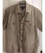 Eddie Bauer Short Sleeve Button Up Shirt Khaki Mens s Small 20648 - $16.24