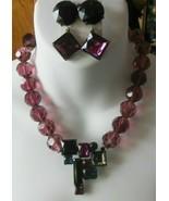 Vintage Massive Heavy Purple & Black Multi-Faceted Glass Necklace & Earr... - $84.15