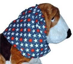 Patriotic Red White Blue Stars Cotton Dog Snood Basset Hound Springer Sz... - $12.50