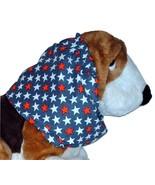 Patriotic Red White Blue Stars Cotton Dog Snood Basset Hound Springer Sz... - $12.50