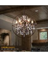 Foucault's Orb Crystal Chandelier Globe E14 Light Antique Rust Ceiling Lamp - $261.45+